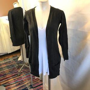 Zara long dark gray button up cardigan